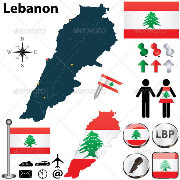 Map of Lebanon - Travel Conceptual