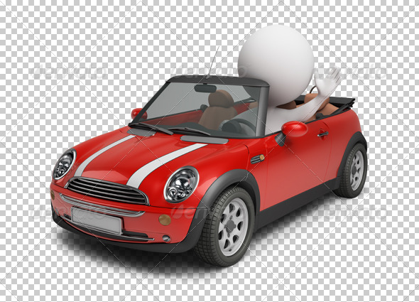 3d small people - small car - Characters 3D Renders