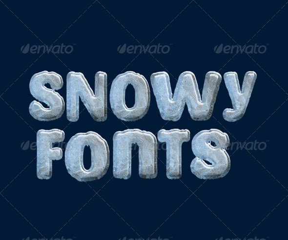 Snowy Fonts - Isolated Objects