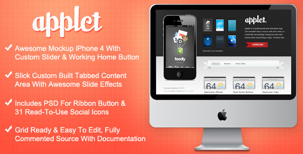Free Download Applet - Interactive App Site Template Nulled Latest Version