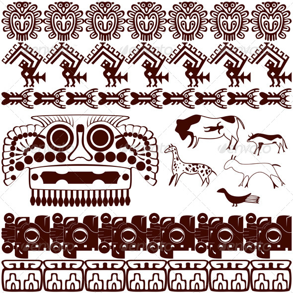 Set of Ancient American Ornaments - Backgrounds Decorative