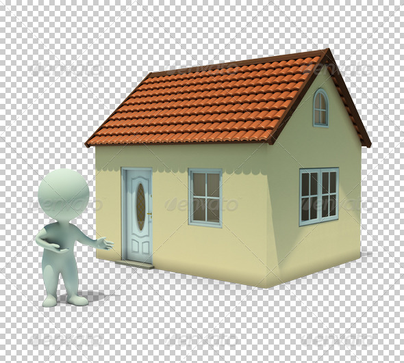 3d small people - show a home - Characters 3D Renders