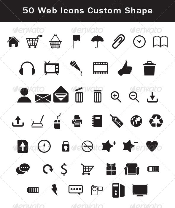 50 Web Icons Custom Shape Set - Symbols Shapes