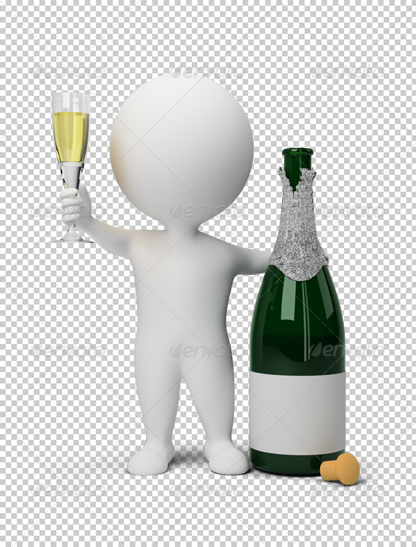 3d small people - champagne - Characters 3D Renders