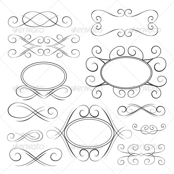 Vector Set: Calligraphic Design Elements - Borders Decorative