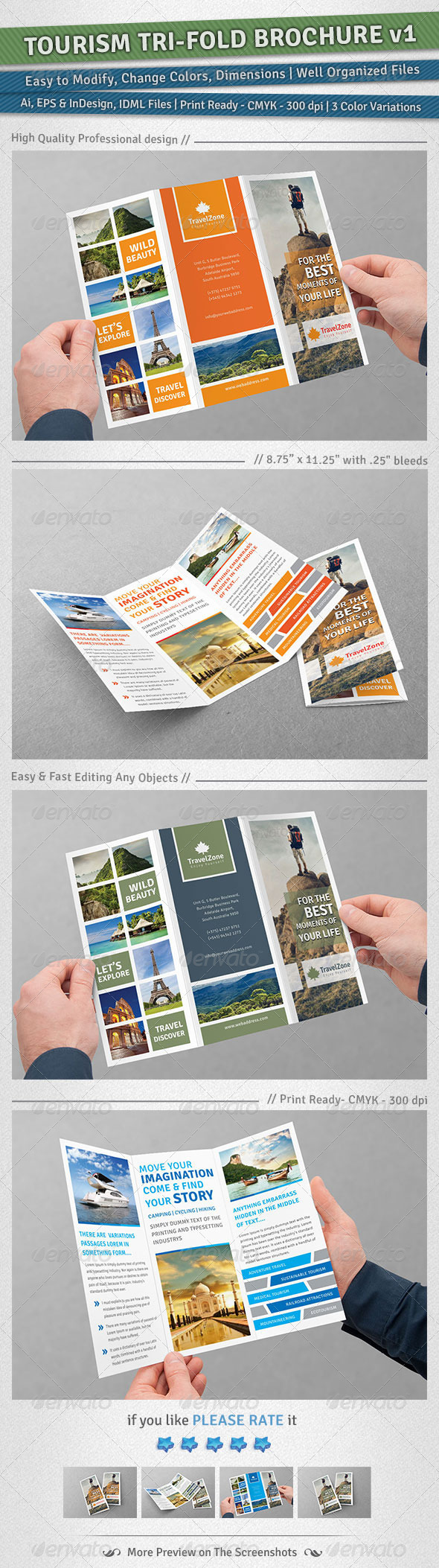 Tourism Tri-Fold Brochure | Volume 1 - Corporate Brochures