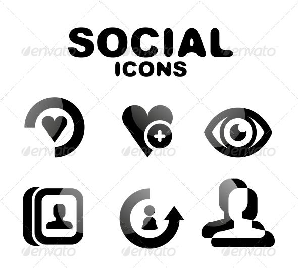 Black Glossy Social Icon Set - Web Technology