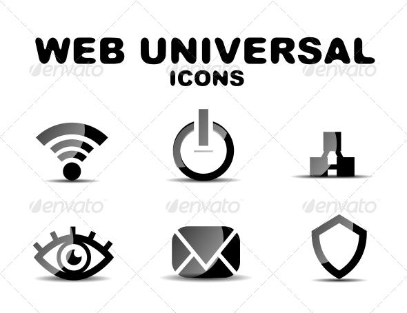 Black Glossy Web Universal Icon Set - Web Technology