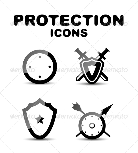 Black Glossy Protection Icon Set - Web Technology