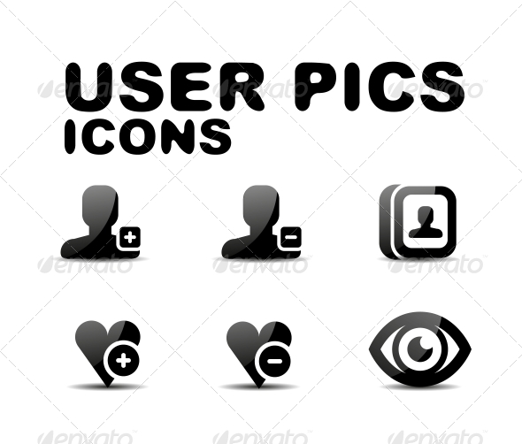 User Black Glossy Icon Set. Vector Illustration - Miscellaneous Conceptual