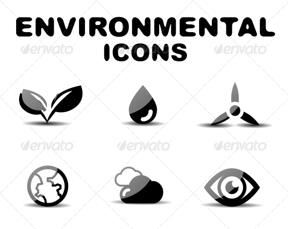 Black Glossy Environmental Icon Set - Miscellaneous Conceptual