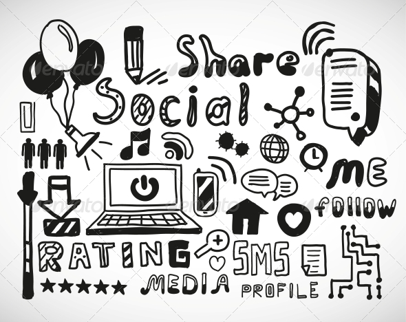 Set of Hand Drawn Social Doodles - Communications Technology