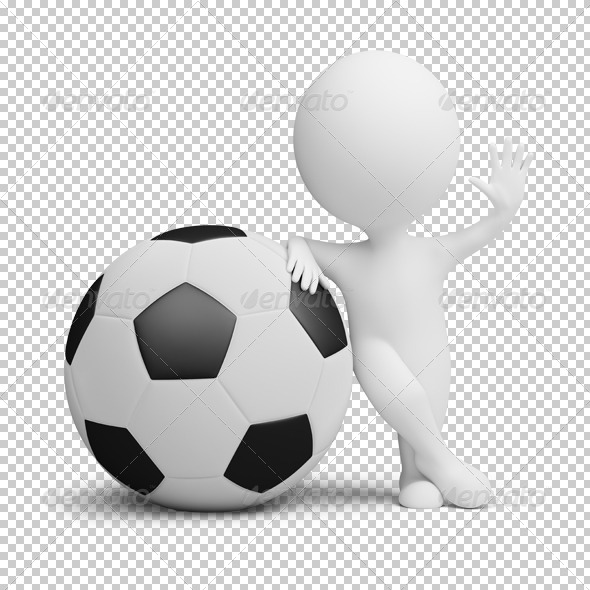 3d small people - soccer player big ball - Characters 3D Renders