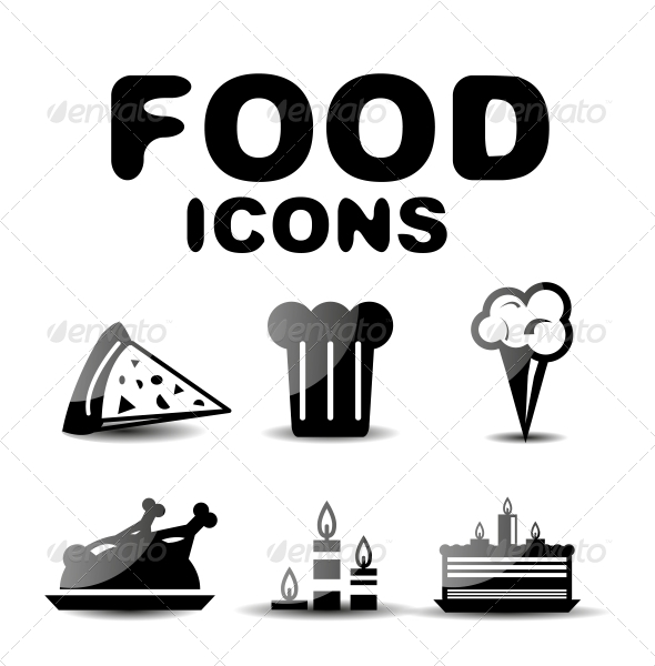 Food Black Glossy Icon Set - Web Technology