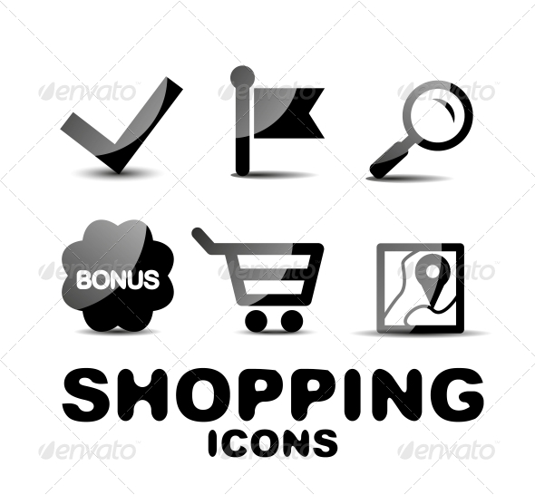 Black Glossy Shopping Icon Set - Web Technology