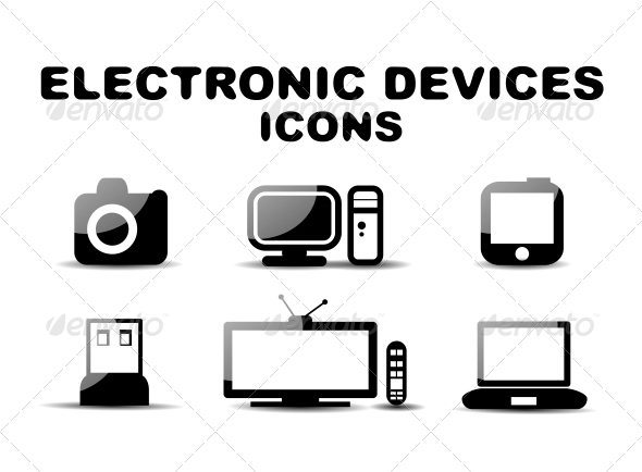 Black Glossy Electronic Devices Icon Set - Miscellaneous Conceptual
