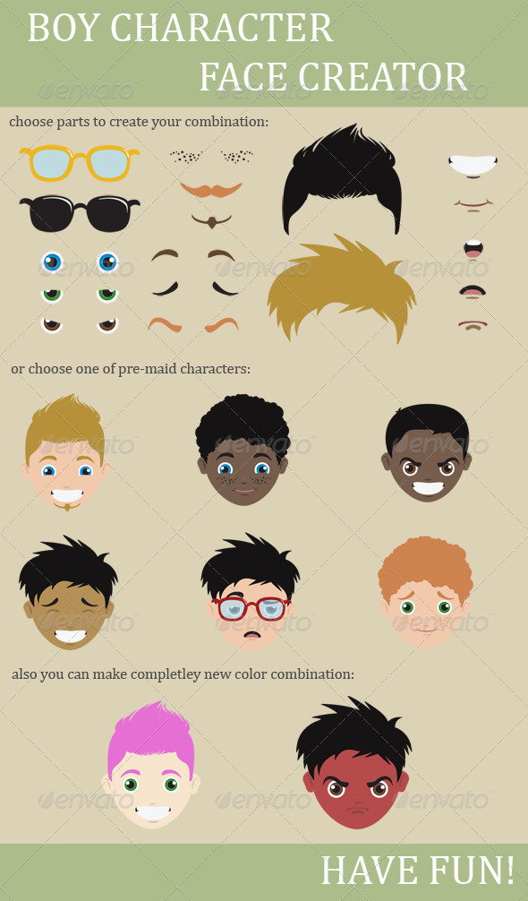 Character Boy Face Creation - Characters Illustrations