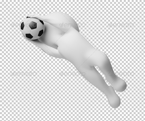 3d small people - goalkeeper a catching ball - Characters 3D Renders