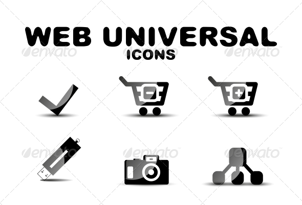 Black Glossy Web Universal Icon Set - Web Technology