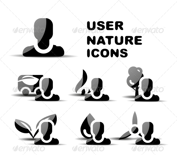 Black User Nature Glossy Icon Set - Web Technology