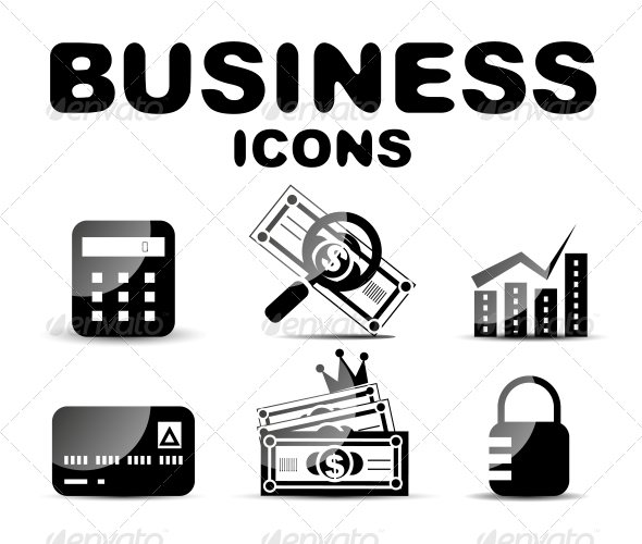 Black Glossy Business Icon Set - Web Technology
