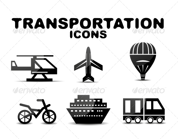 Black Glossy Transportation Icon Set - Miscellaneous Conceptual