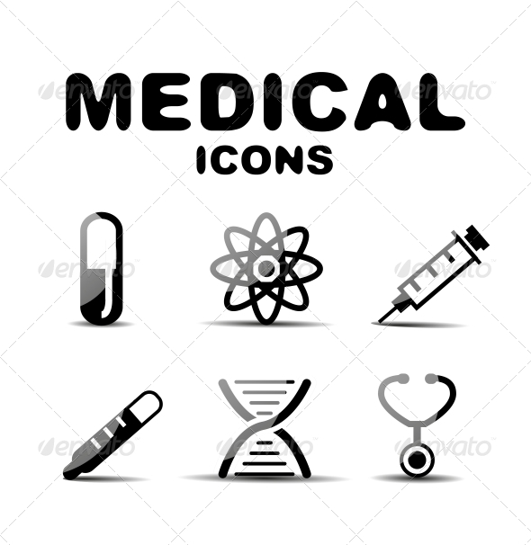 Black Glossy Medical Icon Set - Miscellaneous Conceptual