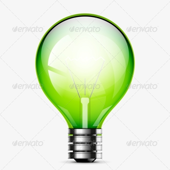 Green Light Bulb Icon Isolated on White - Miscellaneous Conceptual