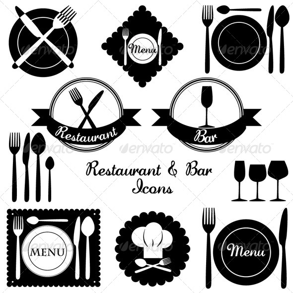 Restaurant and Bar Icons  - Food Objects