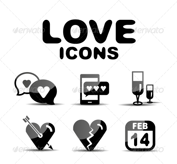 Love Glossy Icon Set. Vector Illustration - Miscellaneous Conceptual