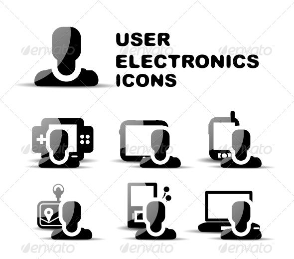 Black user electronics glossy icon set - Web Technology