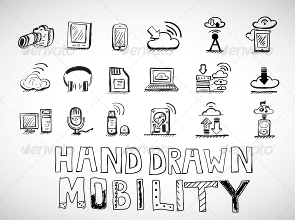 Hand Drawn Mobility Icons Doodles - Web Technology
