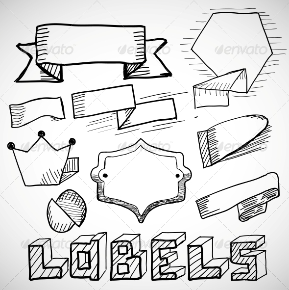 Hand Drawn Labels and Design Elements Doodles - Web Technology