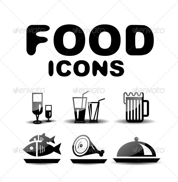 Food Black Glossy Icon Set - Web Technology