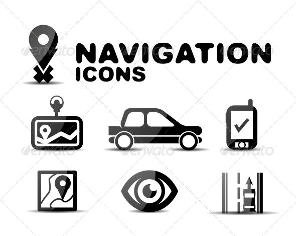 Navigation Glossy Black Icon Set - Miscellaneous Conceptual