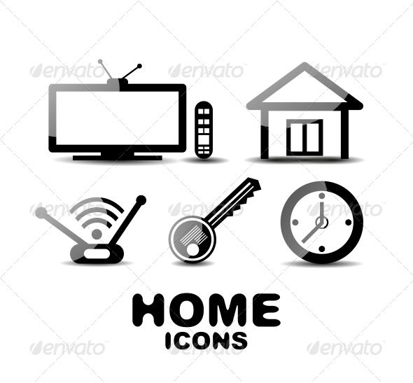 Black Glossy Home Icons - Web Technology