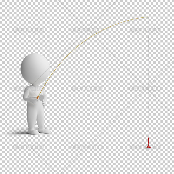 3d small people - fishing - Characters 3D Renders