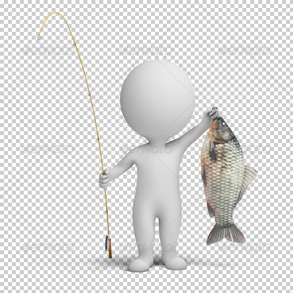 3d small people - fisherman - Characters 3D Renders