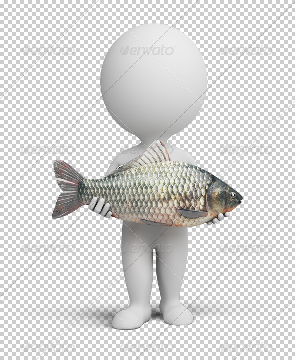 3d small people - fisherman and fish - Characters 3D Renders
