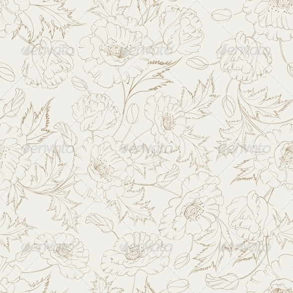 Poppy Seamless Pattern - Flowers & Plants Nature