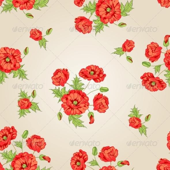 Pattern of Poppy Flowers. - Flowers & Plants Nature