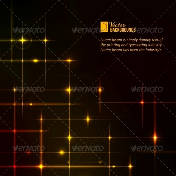 Golden Stars over Dark Background. - Abstract Conceptual