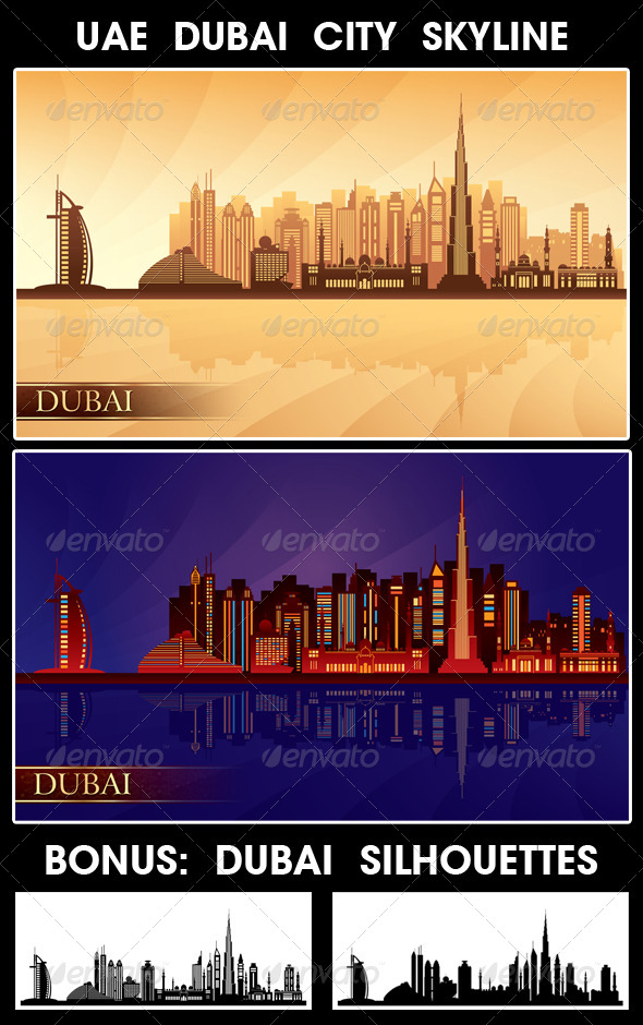 Dubai City Skyline Silhouettes Set - Buildings Objects