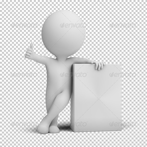 3d small people - empty product box - Characters 3D Renders