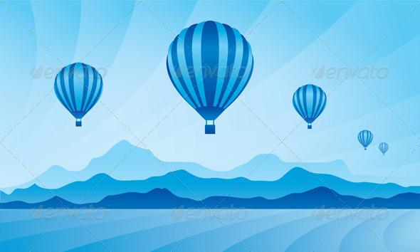 Air Balloon in the Sky Vector Skyline Illustration - Travel Conceptual