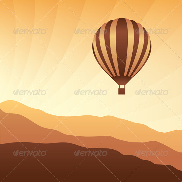 Air Balloon in the Sky Vector Skyline Illustration - Travel Conceptual
