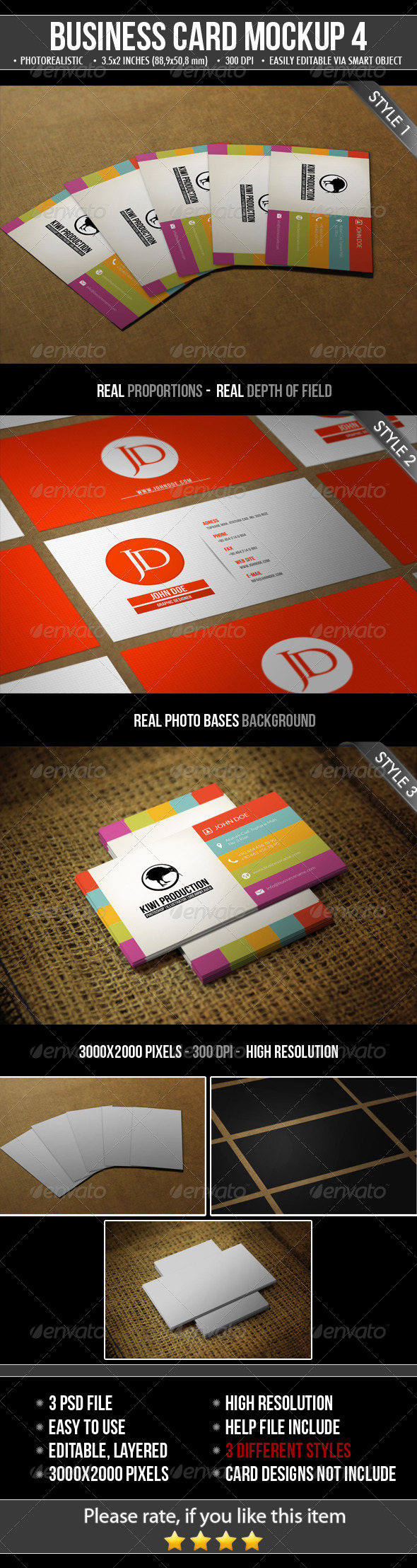 3 Realistic Business Card Mock-Up - Business Cards Print