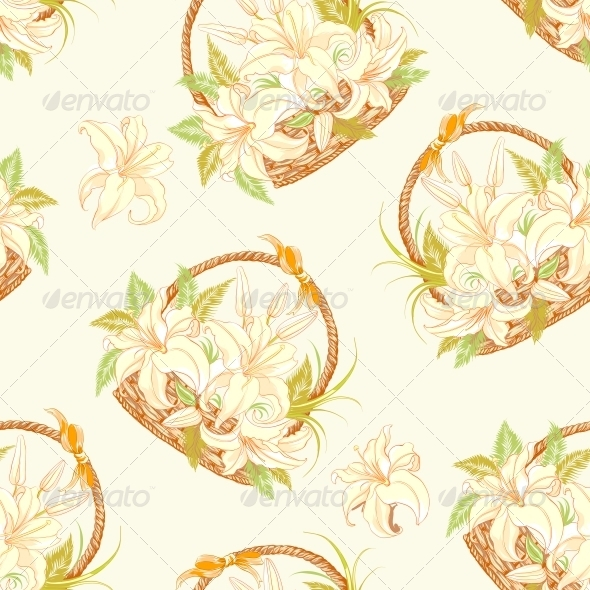 Seamless pattern with basket of blooming lilies. - Patterns Decorative