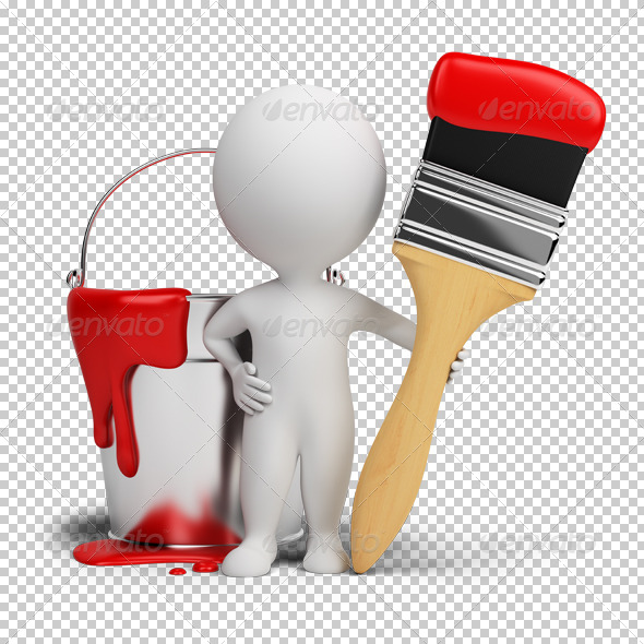 3d small people with a brush and a paint - Characters 3D Renders