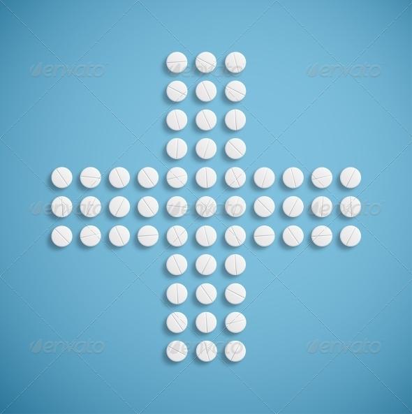 Medical Cross from Pills - Health/Medicine Conceptual